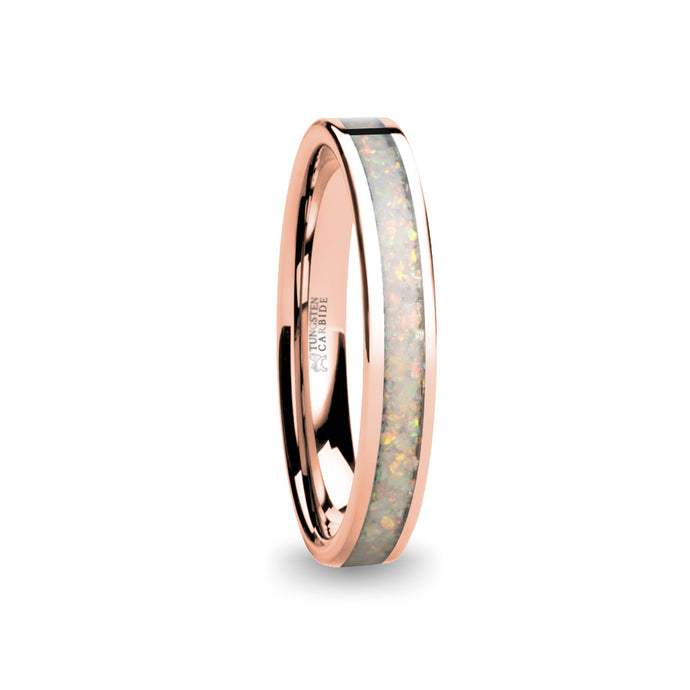 Fire Ice White Opal Inlay Rose Gold Tungsten Wedding Carbide Ring