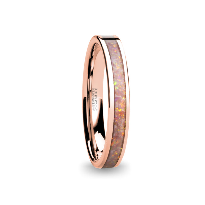 Light Pale Pink Opal Inlay Rose Gold Tungsten Wedding Ring