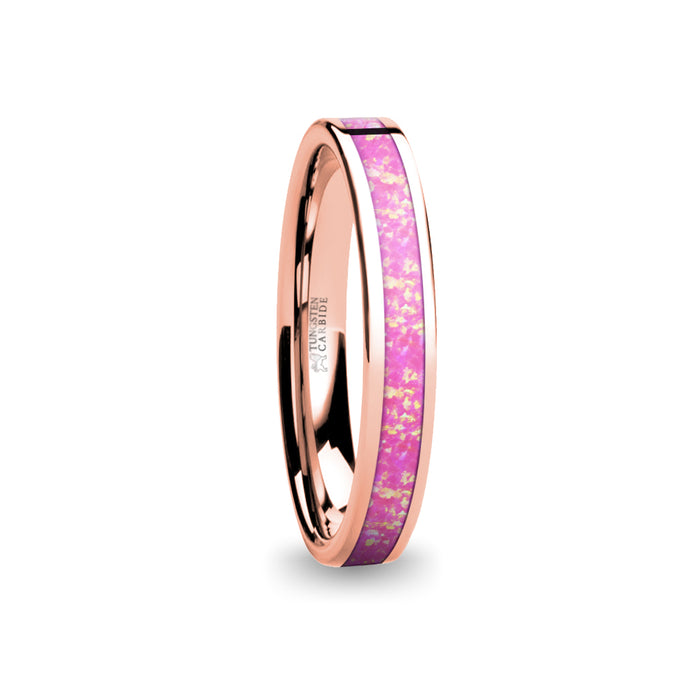 Coral Pink Opal Inlay Women's Rose Gold Tungsten Wedding Band