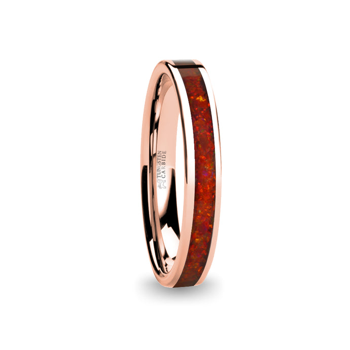Deep Ruby Red Opal Inlay Rose Gold Tungsten Wedding Carbide Ring