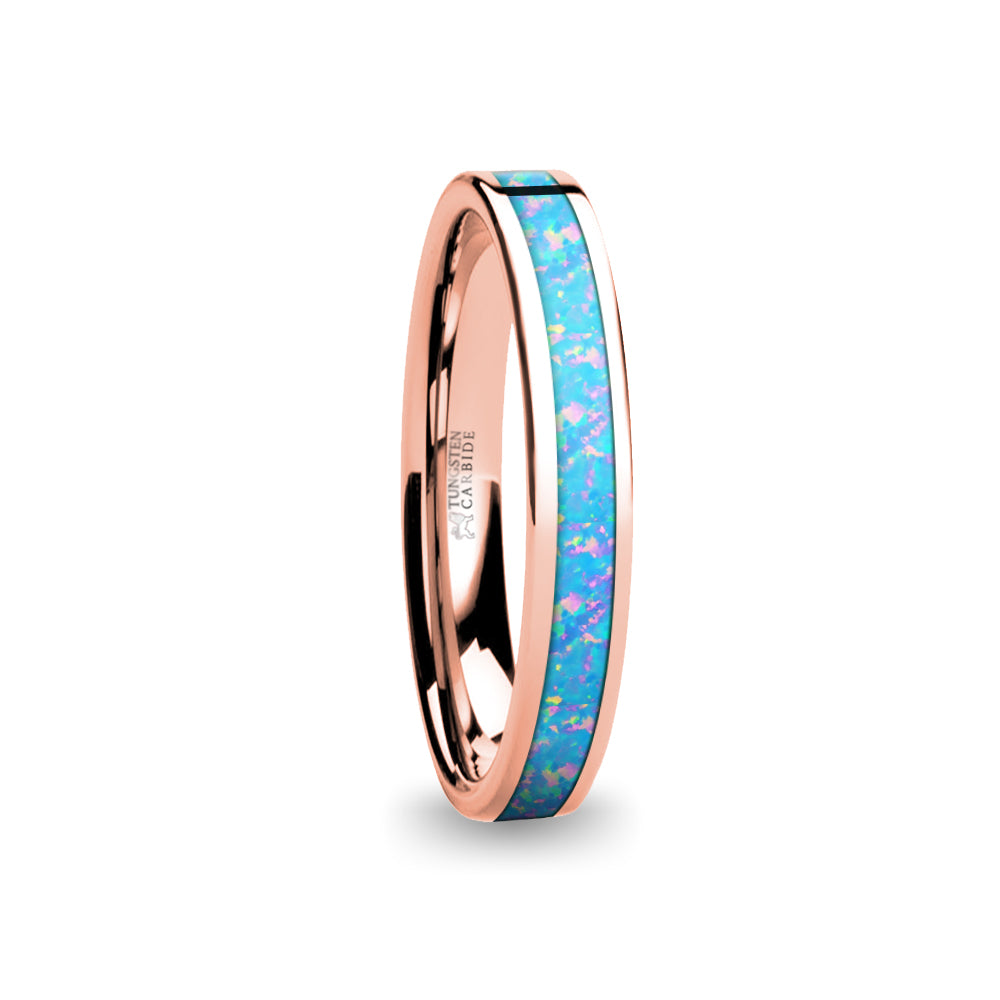 Light Blue Pink Flake Opal Inlay Rose Gold Tungsten Wedding Ring