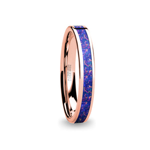 Navy Blue Purple Opal Inlay Pink Flake Rose Gold Tungsten Ring
