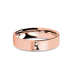 Baby Panda Cub Engraved Rose Gold Tungsten Wedding Band, Brushed