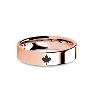 Canadian Maple Leaf Rose Gold Tungsten Wedding Band, Polished