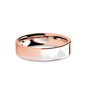 Detroit City Skyline Laser Engraved Rose Gold Tungsten Ring