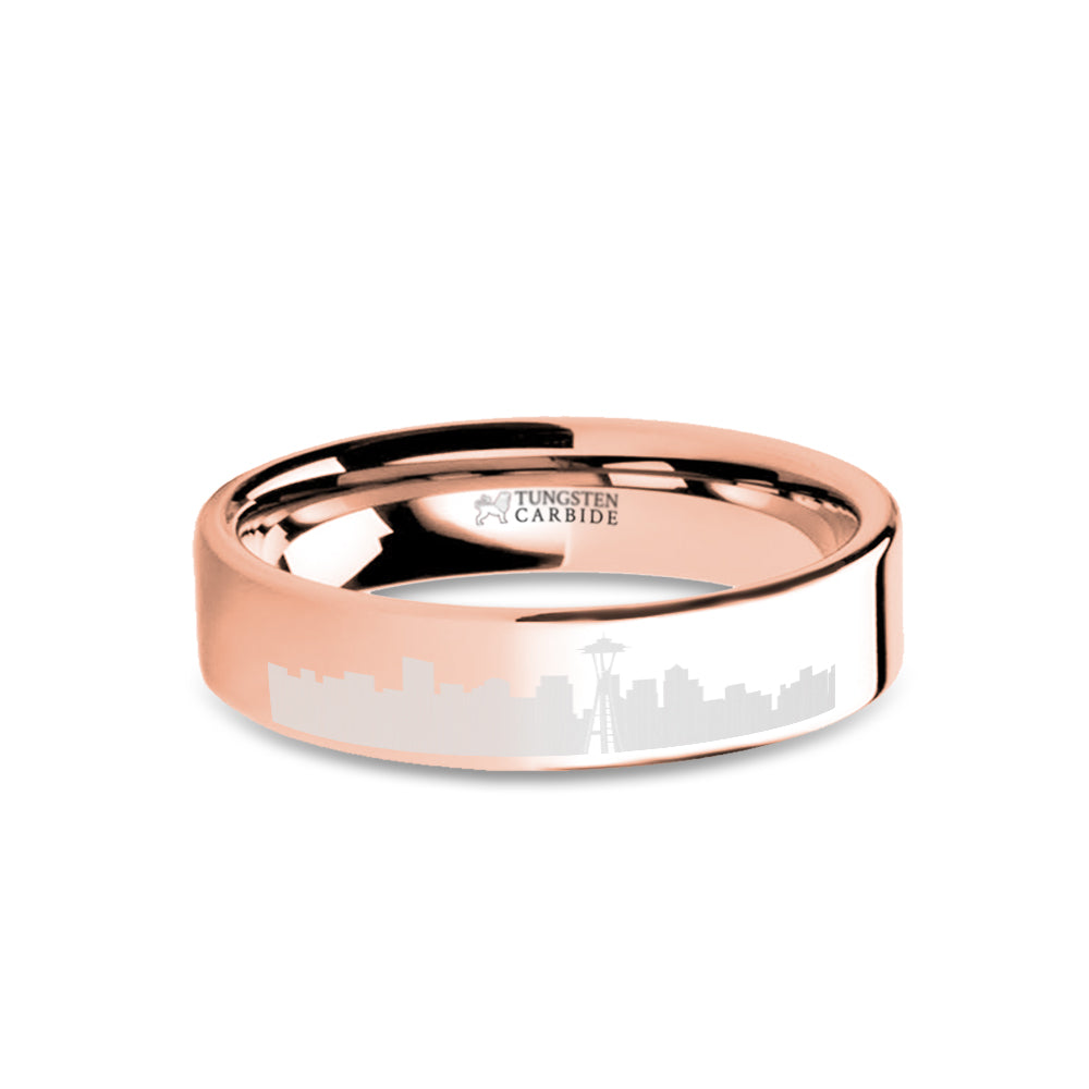 Seattle City Skyline Cityscape Engraved Rose Gold Tungsten Ring