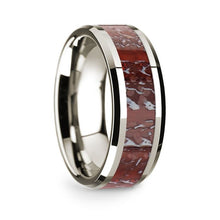 Load image into Gallery viewer, Red Dinosaur Bone Inlay 14K White Gold Wedding Band, Beveled