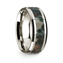 Load image into Gallery viewer, Coprolite Dinosaur Fossil Inlay 14K White Gold Wedding Ring, Beveled