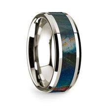 Load image into Gallery viewer, Iridescent Dinosaur Fossil Spectrolite 14K White Gold Ring, Beveled
