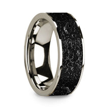 Load image into Gallery viewer, Black Lava Rock Inlay 14K White Gold Wedding Ring, Flat