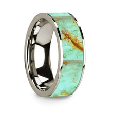 Load image into Gallery viewer, Precious Turquoise Stone Inlay 14K White Gold Wedding Ring