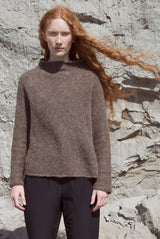 MOCK NECK BOXY SWEATER brown