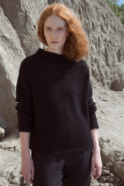 MOCK NECK BOXY SWEATER black