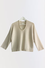 U-NECK SWEATER natural / black
