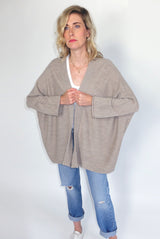 WIDE CARDIGAN oatmeal