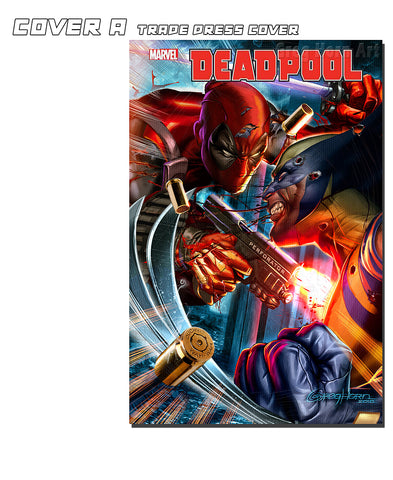 DEADPOOL #1 Trade Dress cover -bundle option for panoramic Deadpool VS Wolverine Lithograph available. The Comic Mint Exclusive with cover by GREG HORN.