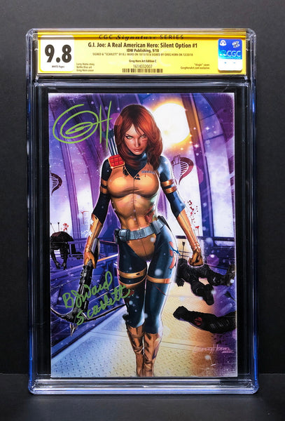 G.I. Joe Silent Option # 1 Cover C CGC 9.8 SS Signed by Greg Horn & BJ Ward (Scarlett)!
