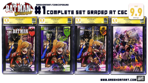 Batman Who Laughs # 1 ComicXposure Greg Horn Art Exclusive 9.9 MINT copies - COMPLETE set of 4!!