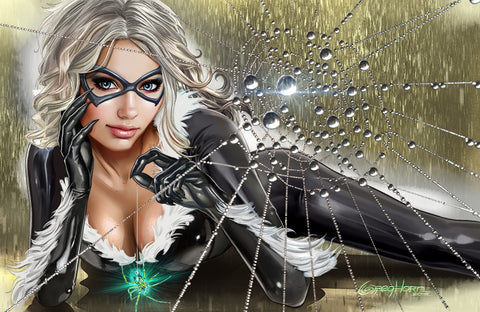 Black Cat - Caught in her Web - High Quality 11 x 17
