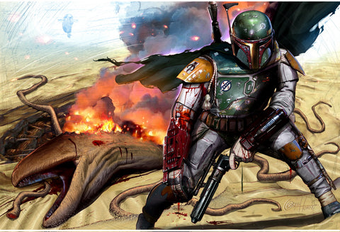 Star Wars - Boba Fett Sarlac Pit Escape- Limited Lithograph