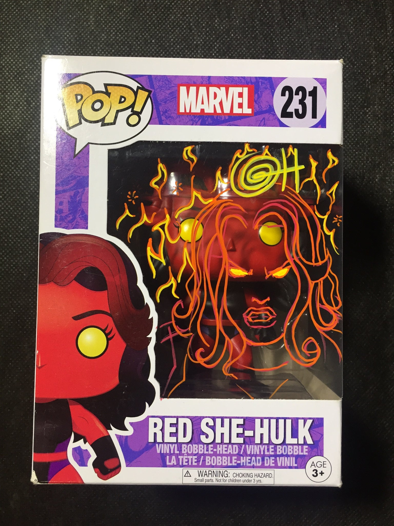 Red She-Hulk PoP! Remarked with Red She-Hulk & Flames.