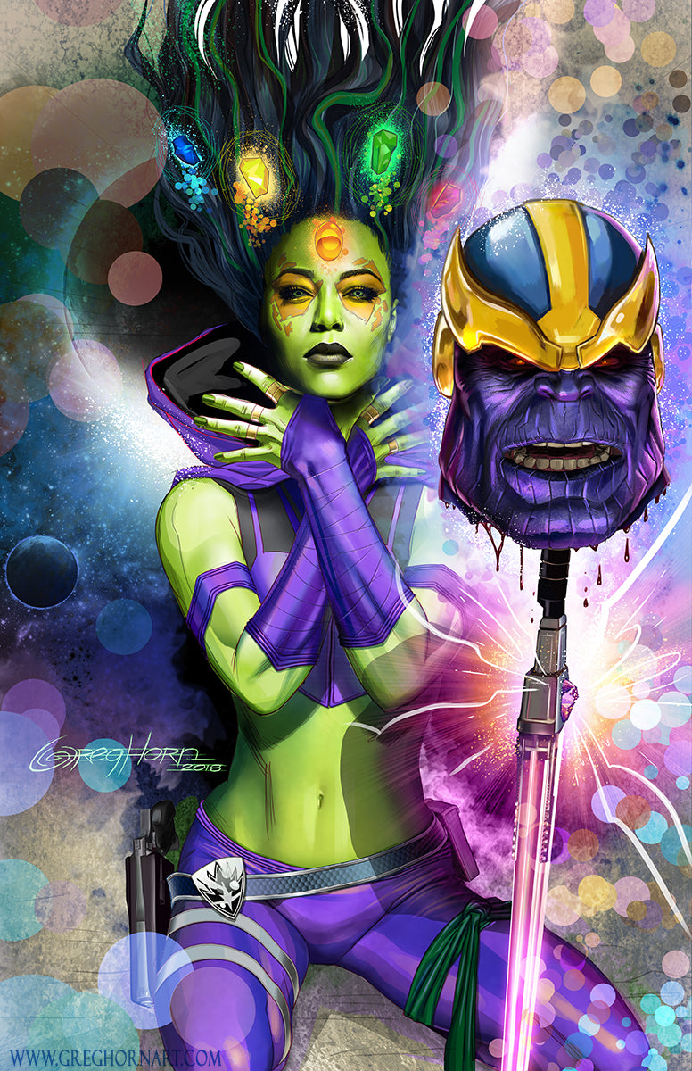 Gamora and Thanos 11 x 17 PRINT - Guardians of the Galaxy
