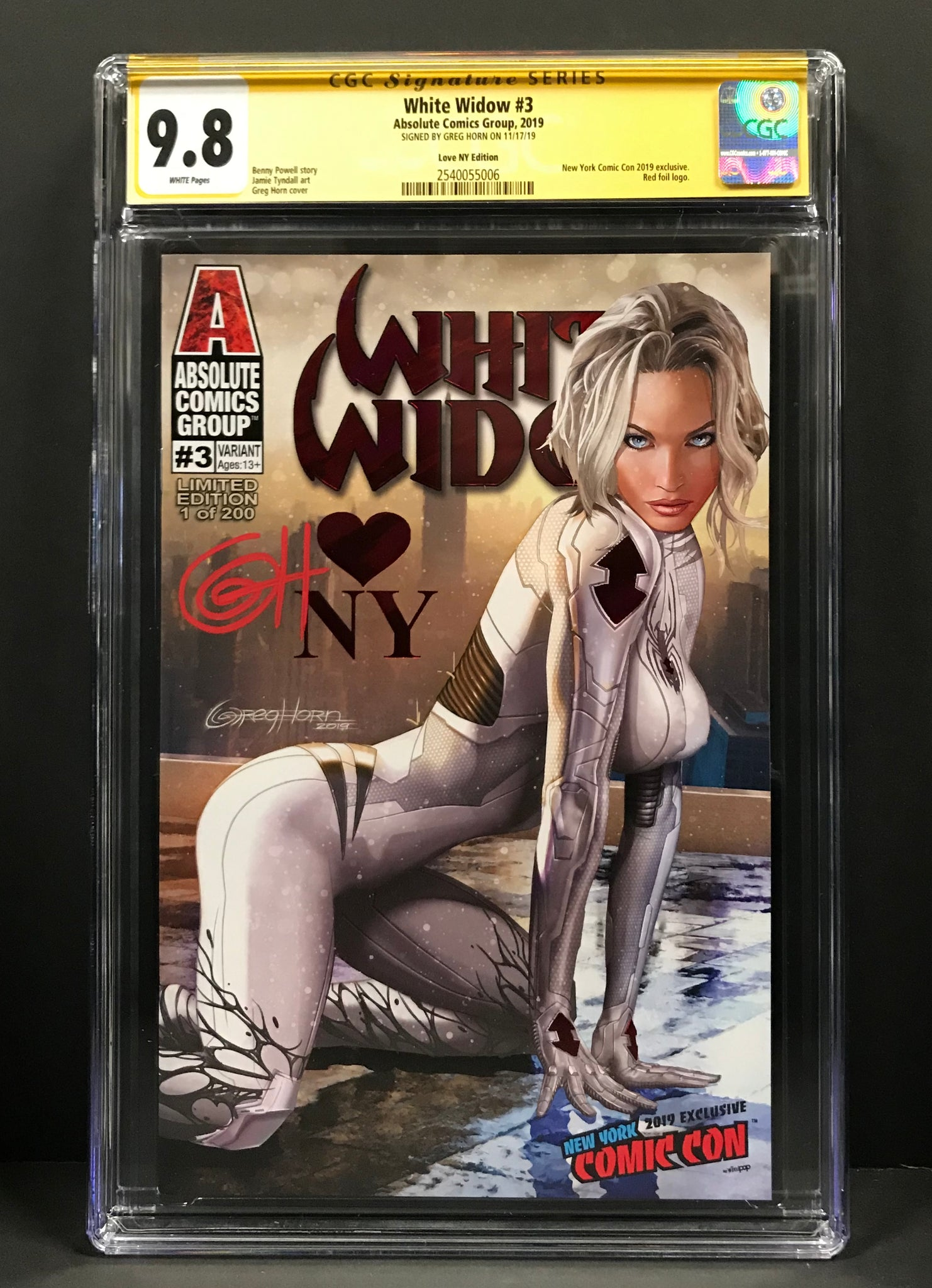 White WIdow # 3 Knowhere Toys Convention Exclusives/Greg Horn Art NYCC Trade Variant CGC