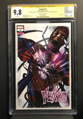 Venom # 1 Greg Horn Art CGC  9.8 Signature Series Triple Signed Set!