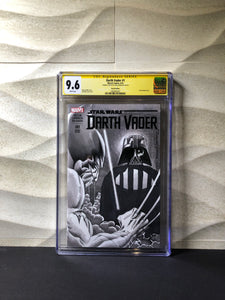Darth Vader # 1 Blank Variant Sketched and Signed by Greg Horn Wolverine vs Vader CGC 9.6 SS