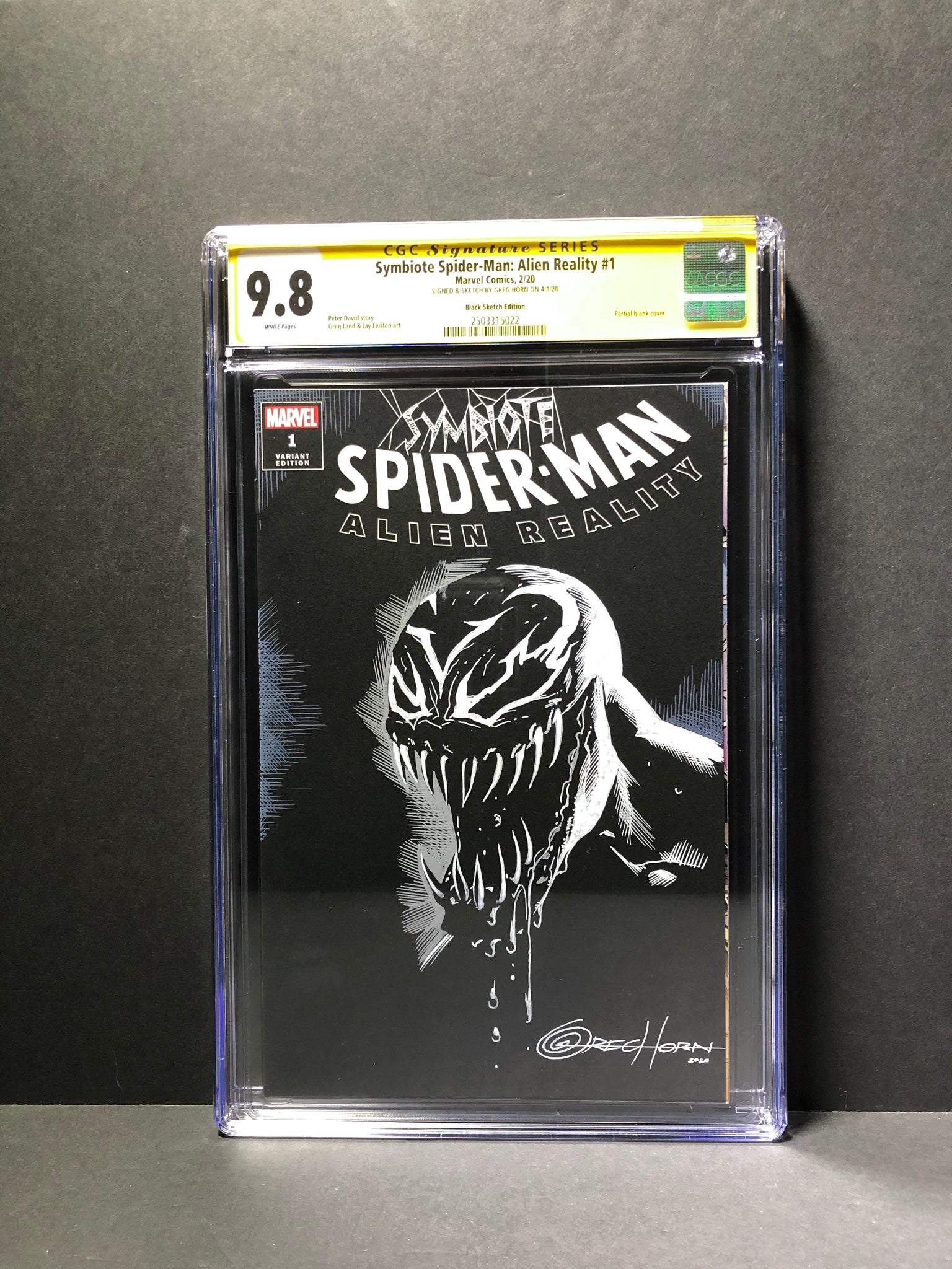 Symbiote Spider-Man Altered Reality CGC 9.8 Signature Series Signed and Sketched by Greg Horn