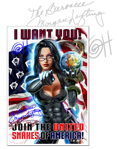 G.I. Joe The Baroness Wants You! - 13 x 19 - Limited Lithograph Dual Signed with CGC Option