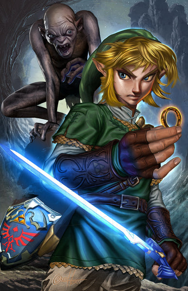 Link and Gollum - high quality 11 x 17 digital print