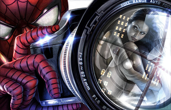 Spider-man - Camera with Mary J - high quality 11 x 17 digital print