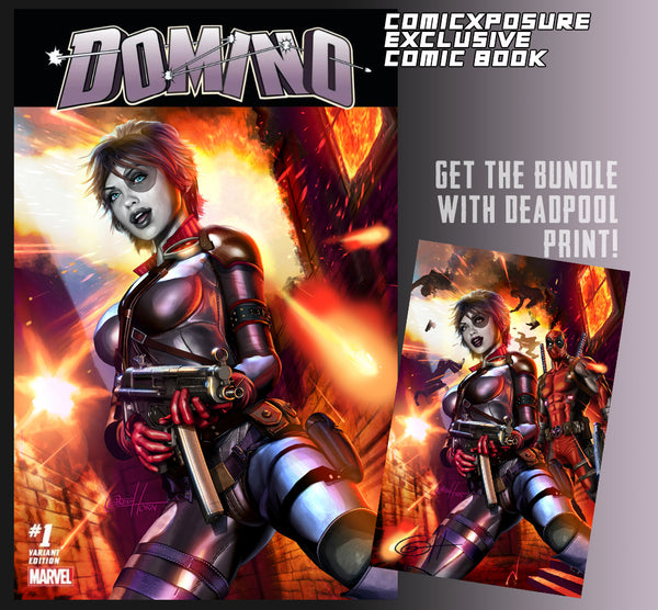 Domino #1 ComicXposure Exclusive with cover by Greg Horn - 11 x 17 Deadpool print option
