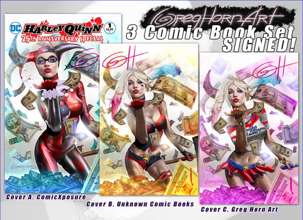 Harley quinn 25th anniversary Special #1 store exclusive variant signed by digital artist Greg Horn
