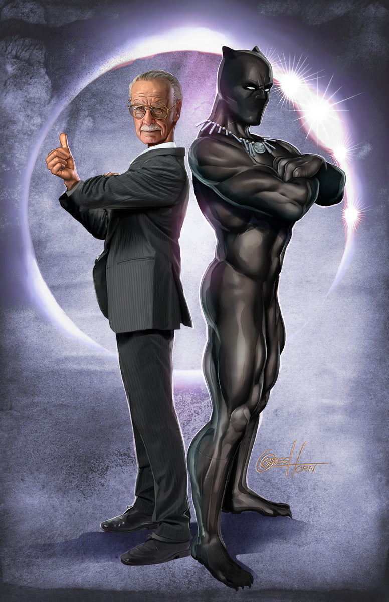 Black Panther and Stan the Man - High Quality 11 x 17 DIgital print