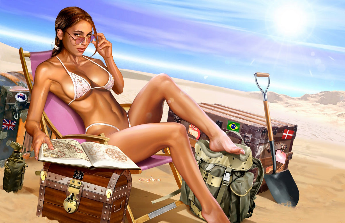 Tomb Raider at the Beach - high quality 11 x 17 digital print