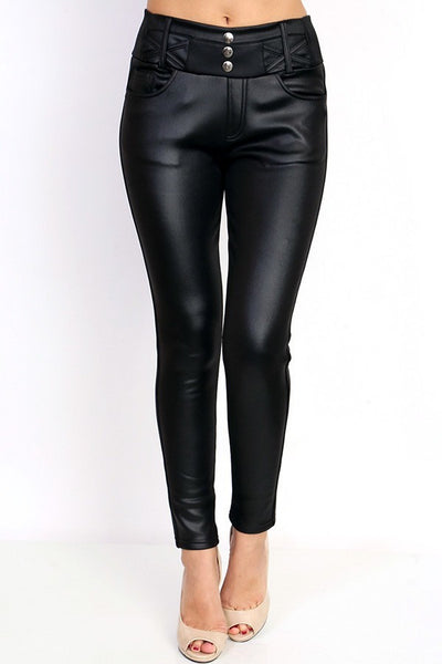 Leather Look Fleece Lined Leggings