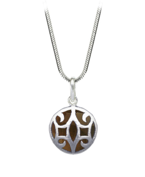 Arabesque Round Cutout Pendant Smokey Quartz