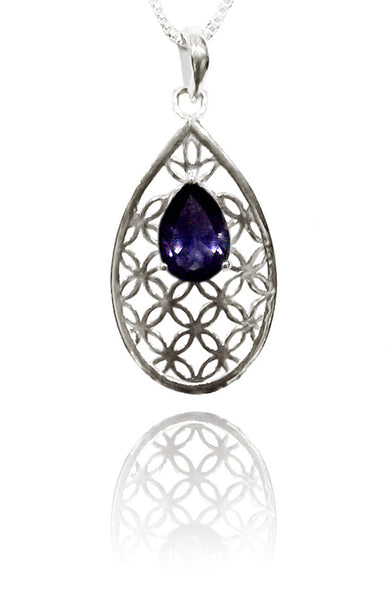 Flower of Life Teardrop Pendant with Iolite