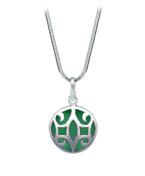 Arabesque Round Cutout Pendant Green Onyx
