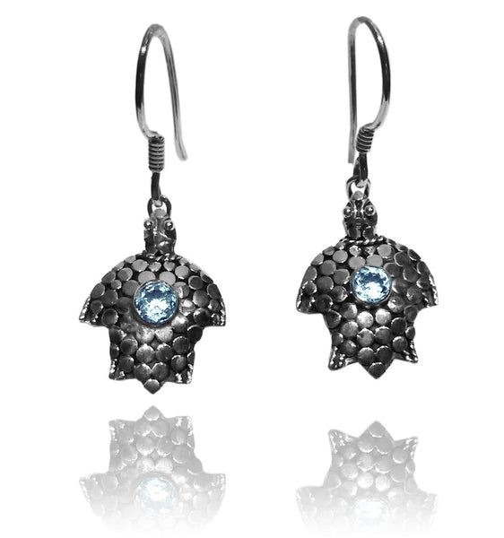 Sea Turtle Earrings - Blue Topaz