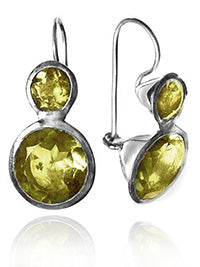 Large Jaipuri Two Stone Drop Earrings Citrine