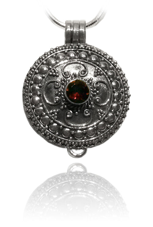 Bali Locket with Garnet