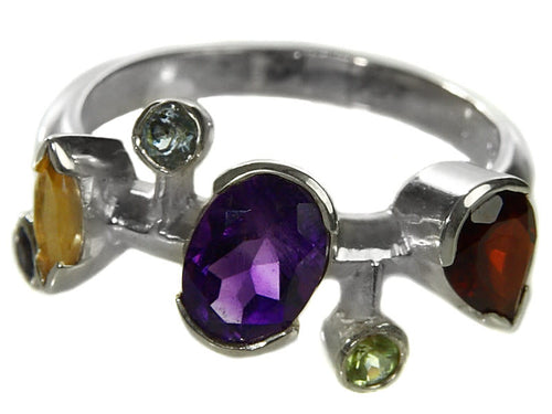Six Stone Single Line Ring Mixed Stones