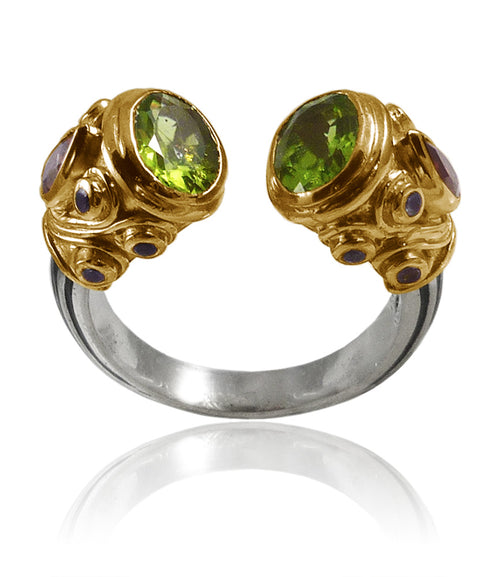 Small Serpentine Open Stone Ring Peridot