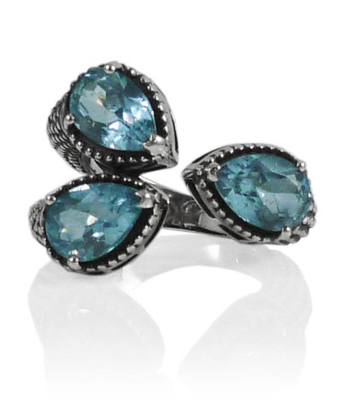 Dragon Foot Ring Blue Topaz Size 7