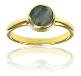 18K Gold Plated Stackable Jaipuri Circle Ring Labradorite 5