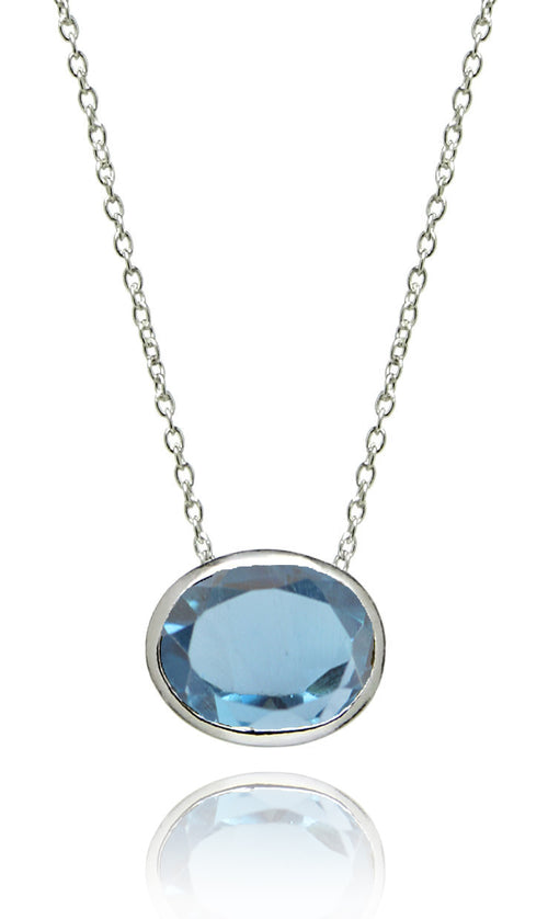 Floating Oval Pietra Necklace Blue Topaz