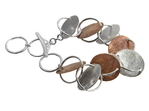 Art Deco Copper and Brushed Silver Oval Plates Bracelet